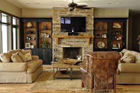 stone or brick fireplace
