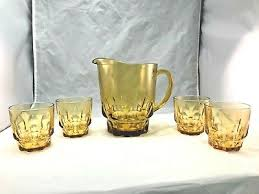 thumbprint amber glass pitcher