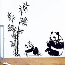 Bibitime Black White Mother Baby Pandas Eating Bamboos Wall Stickers Decor For Bedroom Vinyl Decals Panda Things