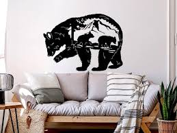 Bear Silhouette Wall Decals Bear Vinyl Stickers Bears Wall Etsy