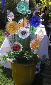 garden art plate flowers glass garden