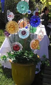 garden art plate flowers glass garden