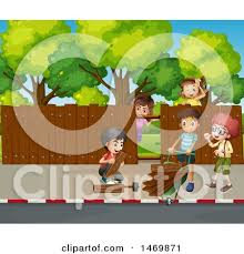 Clipart Of A Group Of Children Building A Fence Royalty Free Vector Illustration By Graphics Rf 1469871