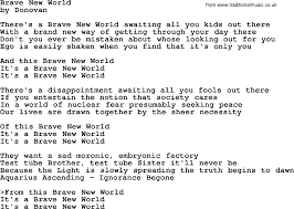 Donovan Leitch song - Brave New World ...