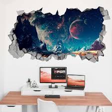 Space Broken Wall Decal 3d Wallpaper 3d Wall Decals 3d Etsy