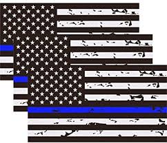 Amazon Com 3 Pack Reflective New Tattered Thin Blue Line Us Flag Decal Stickers Compatible With Cars Trucks 5 X 2 7 American Usa Flag Decal Sticker Honoring Police Law Enforcement Vinyl