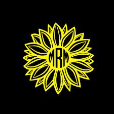 Handmade Products Monogram For Laptop Monogram For Tumbler Sunflower Monogram Car Decal Sunflower Monogram Sticker Custom Initial Monogram Decals