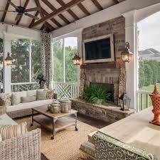 screen in porch fireplace design ideas