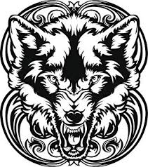 Amazon Com Black And White Fox Wolf With Vintage Swirls Vinyl Decal Sticker 4 Tall Automotive