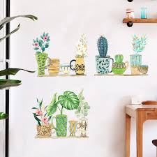 Green Potted Plant Bonsai On Shelves Wall Stickers Hallway Corner Decor Wall Mural Poster Greenery Door Window Wall Decals Art Wall Decals Wall Muraldecoration Wall Aliexpress