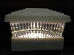 White 5 X 5 Pvc Vinyl Fence Post Cap Solar Light Led Sw Closeouts