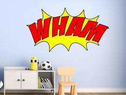 Comic Book Wham Wall Decal Superhero Wall Art Peel And Stick Vinyl Sticker Contemporary Kids Wall Decor By Vwaq Vinyl Wall Art Quotes And Prints