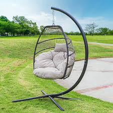 hanging egg chair with stand cushion