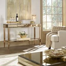 glam mirrored tv stand console table