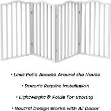 Wooden Pet Gate Tall Freestanding 4 Panel Indoor Barrier Fence Puppies Pets 72 X32 White Foldable With Decorative Arches For Dogs