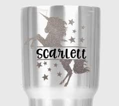 Amazon Com Unicorn Name Decal Die Cut Sticker For Tumblers Cups Car Windows Stars Personalized Handmade
