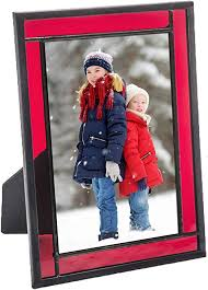 red picture frame stained glass