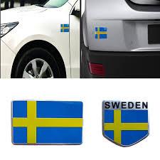 New Auto Grill Decal Emblem 3d Aluminum Sweden Flag Bumper Decoration Car Sticker Wish