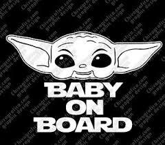 Baby On Board Vinyl Decal Sticker Baby Yoda Ebay