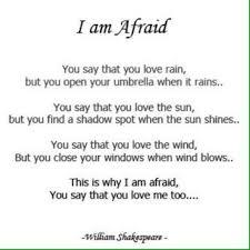 i am afraid terjemah bebas sajak william shakespeare colorfull