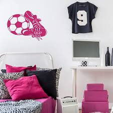 Amazon Com Customvinyldecor Soccer Ball And Cleats Wall Decal Sports Gifts Ball Sticker Decor For Girl S Or Boy S Bedroom And Game Room Or Locker Room Large Small Black White Pink