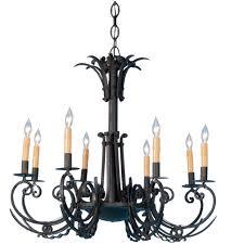antique french 8 light black iron