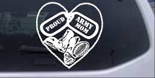Proud Army Mom Dog Tags Heart Combat Boots Car Or Truck Window Decal Sticker Rad Dezigns