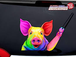 Beautiful Watercolor Rainbow Pig Waving Decal Wipertag For Rear Windshield Wiper Wipertags