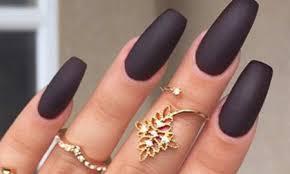 matte nails black coffin sti