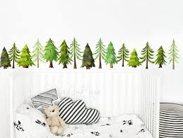 Woodland Decals Pine Tree Decals Baby Room Art Decor Etsy