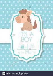 Invitacion De Baby Shower Con Caballos Diseno Vectorial De Dibujos