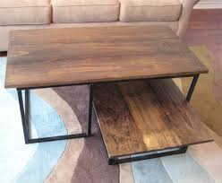 wooden coffee table with steel frame base