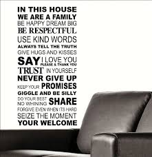 Large Quote In This House Rules Trust Say I Love You Wall Sticker Transfer Decal Jewelry