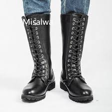 misalwa motorcycle boots mens lace up
