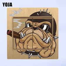 Yoja Cartoon Hat Pipe Bulldog Personality Switch Decal Wall Sticker Home Decoration For Kids Bedroom 8ss0289 Wall Stickers Aliexpress