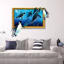 Penguin 3d Sea Ocean Wall Stickers Vinyl Decal Kid Room Home Removable Wallpaper Decor Art Wish