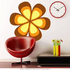 Mod Flower 70s Style Cutout Wall Decal Brown At Retro Planet