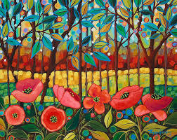 Fairy Tale Poppy's Painting by Peggy Davis