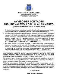 AVVISO PER I CITTADINI MISURE VALEVOLI DAL 21 AL 25 MARZO - Comune ...