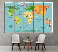 Kids World Map Wall Art Zellart Canvas Prints