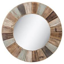 creative round wood wall mirror