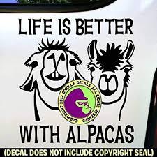 Amazon Com Life Is Better With Alpacas Alpaca Farm Love Vinyl Decal Sticker Car Window Door Wall Trailer Bumper Sign Black Arts Crafts Sewing