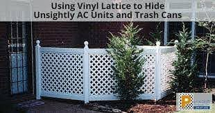 Using Vinyl Lattice To Hide Unsightly Ac Units And Trash Cans Permalatt Resource Center Hide Trash Cans Trash Cans Cheap Fence