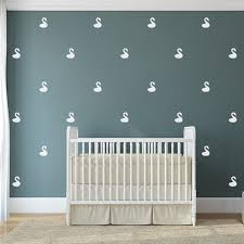 White Swan Wall Decals In A Nursery With A White Crib Each Swan Features Is Evenly Spaced To Act Nursery Wall Decals Nursery Wall Stickers Wall Decal Pattern