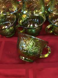 green depression carnival glass punch