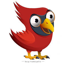 red whisd bird funny cartoon