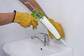 sanitary silicone sealant stock image