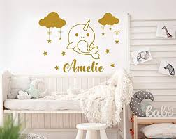 Amazon Com Girls Name Wall Decal Narwhal Wall Stickers Narwhal Personalized Custom Name Decal Clouds Nursery Decals Stars Bedroom Girl Decor Nn72 Handmade