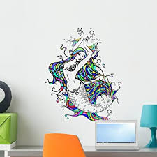 Amazon Com Wallmonkeys Mermaid Wall Decal Peel And Stick Graphic Wm342469 24 In H X 18 In W Home Kitchen