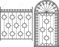 Wrought Iron Gate Door Fence Window Grill Railing Design Royalty Free Cliparts Vectors And Stock Illustration Image 46272596